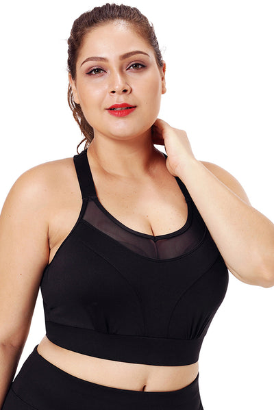 Black Mesh Strap Yoga Bra for Women