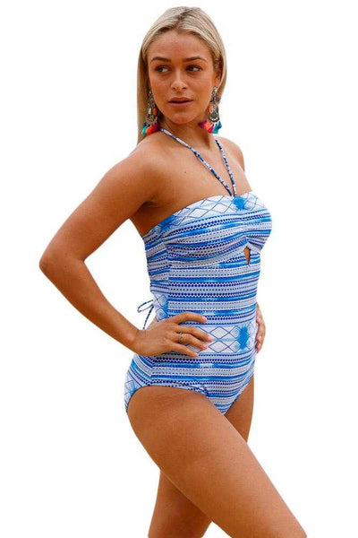 Lace up Crisscross Back Printed One Piece Swimwear