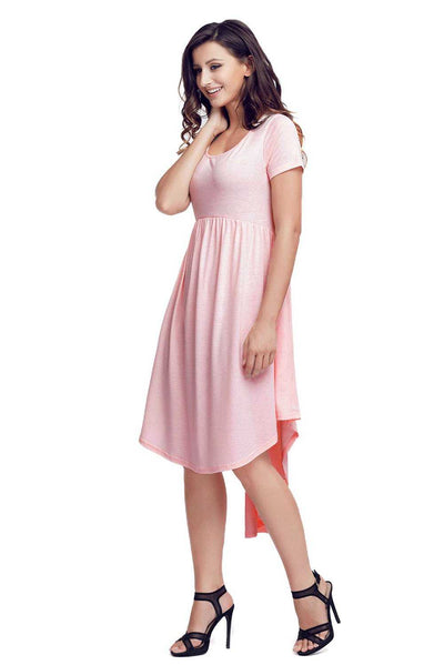 Pink Short Sleeve High Low Pleated Casual Swing Dress
