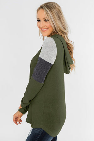 Green Color Block Patchwork Long Sleeve Hoodie