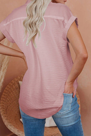 Pink Linen Button Short Sleeves Shirt