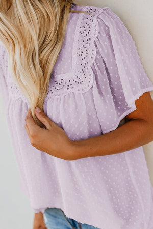 Violet Flutter Sleeves Sheer Textured Babydoll Top