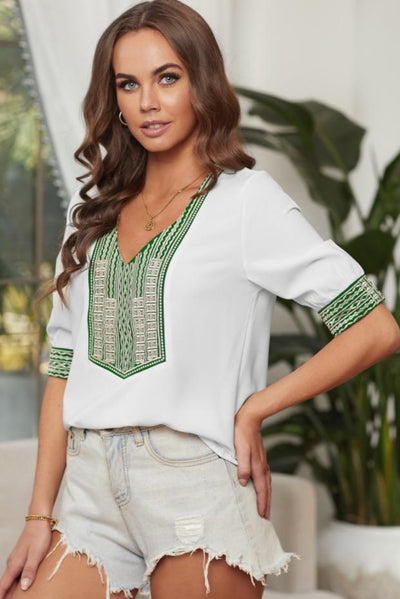 White Deep V-neck Half Sleeve Embroidery Patch Blouse