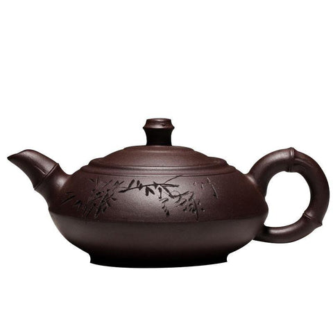 Authentic Yixing Teapot Handmade Tea Set Old Purple Clay Bamboo Pot High Capacity 280ml-Moylor