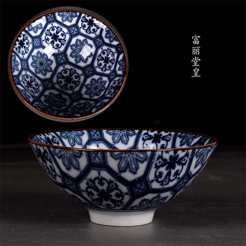 Blue and White Porcelain Kung Fu Tea Set Japanese Retro Tea Cups Big Small Size