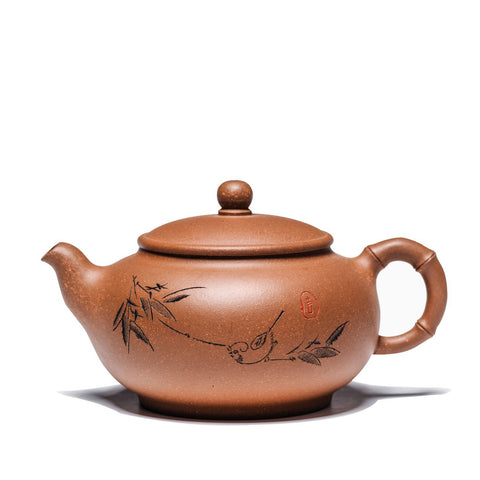 China Style Bamboo Carve Yixing Handmade Kungfu Tea Set Purple Clay 300 ml Teapot-Moylor