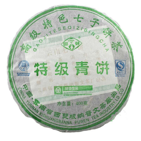 China Tea 2007 Yunya Pu'er Tea Puwen Tea Premium Green Cake Senior Features Seven Cake 400g-Moylor