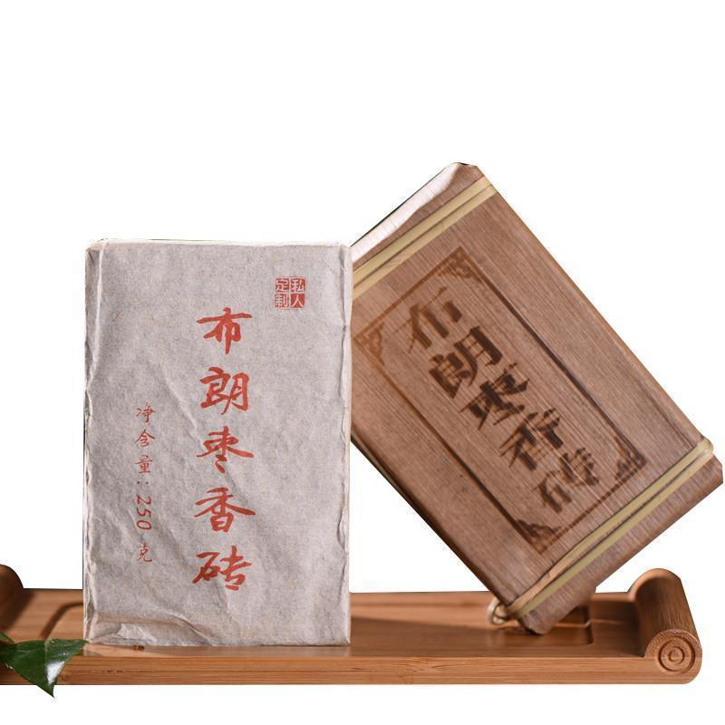 China Tea Bulang 2006 Jujube Sweet Brown Brick Menghai Pu 'er Ripe Tea 250g Ripe Tea Brick Tea