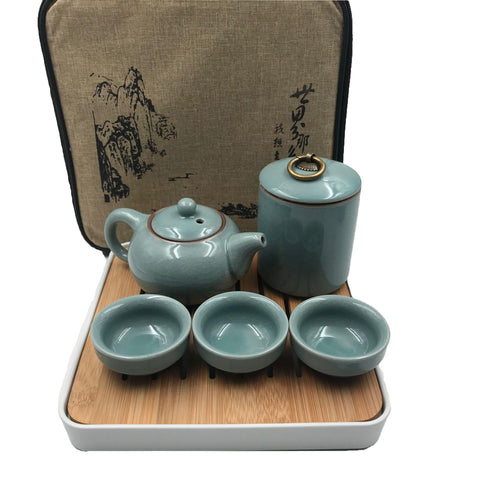 Chinese Ceramic KungFu Tea Sets with Portable Travel Bag Tray 7 Pieces-Moylor