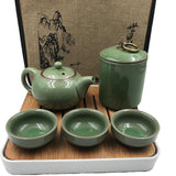 Chinese Ceramic KungFu Tea Sets with Portable Travel Bag Tray 7 Pieces