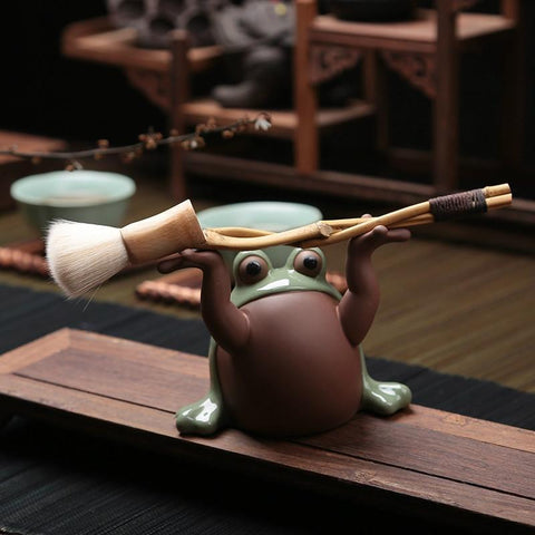Creative Play Tea Pet Pen holder Purple Clay RuYao Tea Pet Toad Decoration Kung Fu Tea Accessories-Moylor