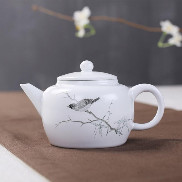 Ding Jingdezhen Ceramic Teapot Hand-painted Ink Color White Fat Kung Fu Tea Tea Teapot Teapot Single Product China Overglaze-Moylor