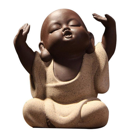Hand Desktop Decoration Lovely Buddha Monk Sand Tea Pet High Qulity Purple Tea Set Fitting Factory Outlets-Moylor