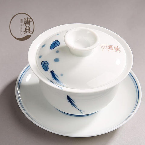 Jingdezhen Sancai Gaiwan Big Size Blue and White Porcelain Tureen Ceramic Tea Strainer Retro Tea Cup-Moylor