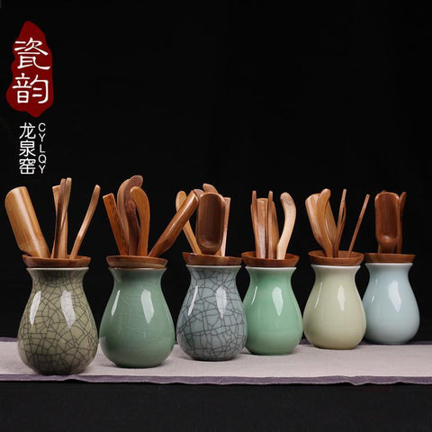 Kiln Celadon Tea Tray Accessories Ceramic Bamboo Kung Fu Tea Tray Accessories 6 Piece Suit-Moylor