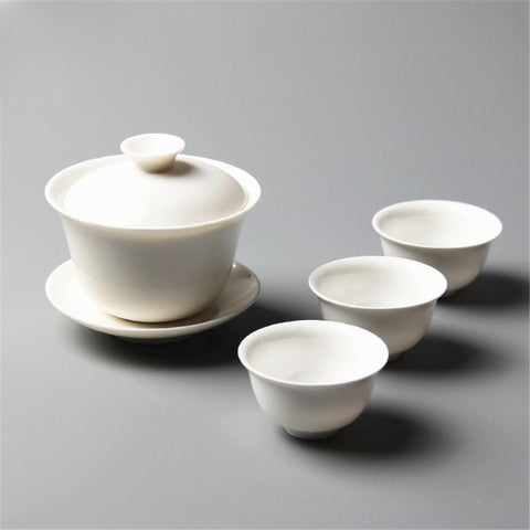 Kung Fu Tea Set 4pcs Sets Ceramic Gaiwan Tea Cups White-Moylor