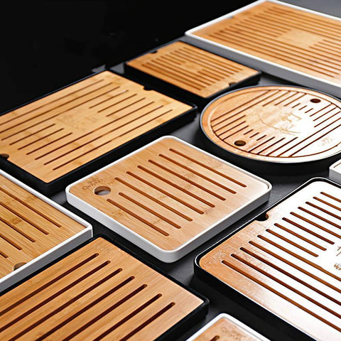 Kung Fu Tea Simple Water Storage Tray Melamine Resin Japanese Round Bamboo Trays Small Tea Table Dry Foam Plate-Moylor