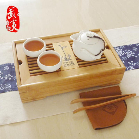 Moylor A Pot of Two Cups of Tea Set Tea with Double Bamboo Kungfu Tea Tray-Moylor
