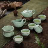 Moylor Chinese 10pcs&7pcs Tea Set Ru Glaze Cracking Ceramic Tea Set Kung Fu Tea Set