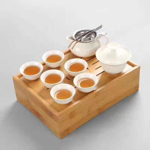 Moylor Office Kungfu Tea Set Travel Set Storage Bamboo Tray with Suits White Ceramics Tea Set-Moylor
