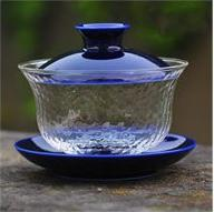 New Arrival Teaware Japanese-style Hammer Head Lines Glass Tureen Hand-painted Queen GaiWan Blue and White Kung Fu Teacup Capacity 190ml-Moylor