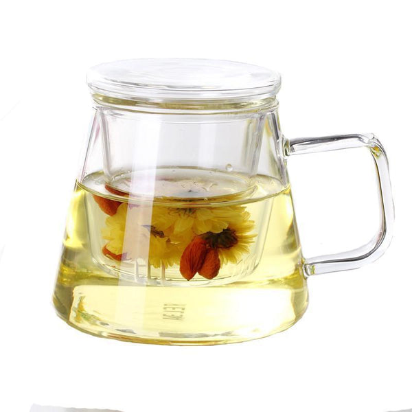 RELEA Creative Personality Flower Teacup Geometric Heat-resistant Glass with Cover Cup of Tea Filter Office Cup 350ml-Moylor