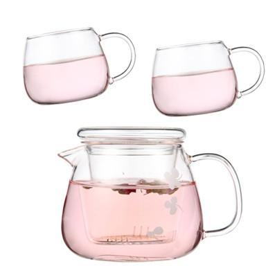 Relea Flower Boil Pot Heat-resistant Glass Tea Pot Set Include 2 Tea Cup Glass Filter Tea Set  Delicate