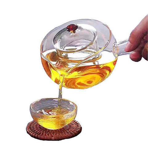 Side Handle Teapot Borosilicate Heat Resistant Glass heating directly Tea Coffee Pot-Moylor