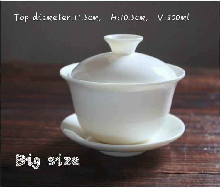 The Ivory White Lustrous White Porcelain Coverbowl Cup Trumpet Large Ceramic Bowl Kung Fu Tea    Tea Cup Cover