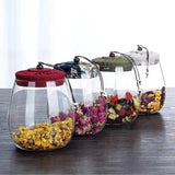 Transparent Glass Storage Bottle for Tea Coffee Flower Fruit