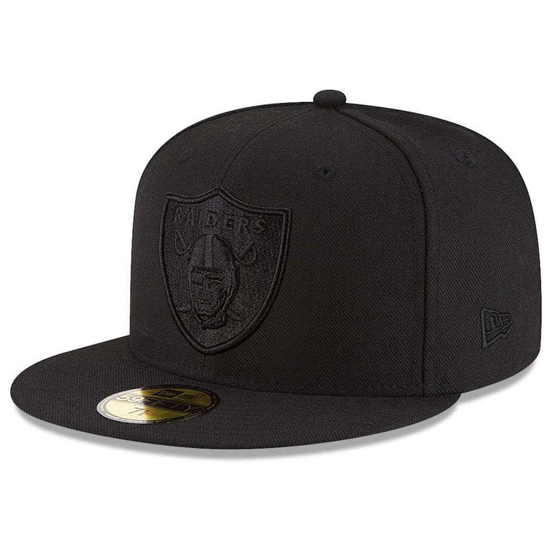Oakland Raiders New Era NFL Black On Black 59FIFTY Fitted Hat
