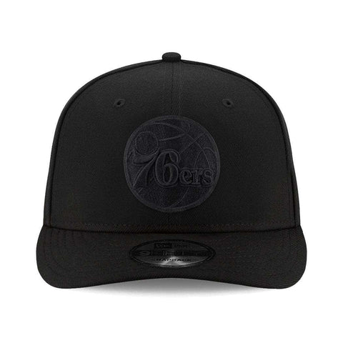 Philadelphia 76ers New Era NBA Black On Black Pre-Curved 9FIFTY Snapback Hat