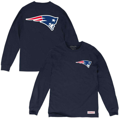 New England Patriots Mitchell & Ness NFL Triple Double Long Sleeve T-Shirt - Navy