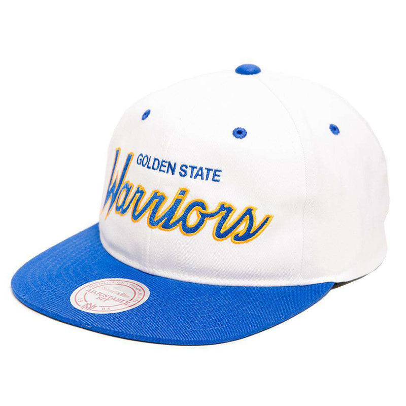 Golden State Warriors Mitchell & Ness NBA Retro Script Snapback Hat - White