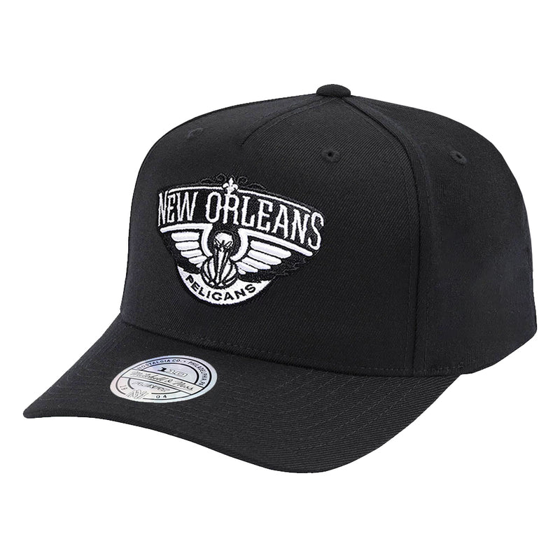 New Orleans Pelicans Mitchell & Ness NBA Black & White 110 Curve Snapback Hat