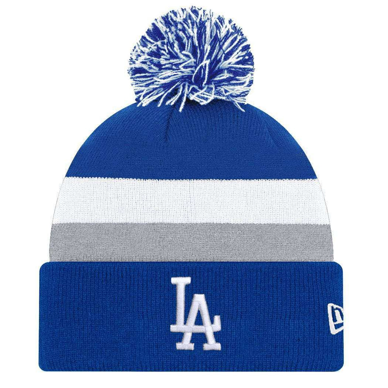 Los Angeles Dodgers New Era MLB Team Stripe Knit Beanie - Blue