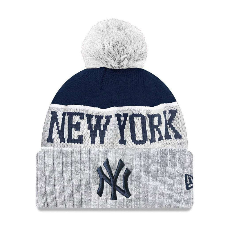 Youths New York Yankees New Era MLB Heather Dip Knit Beanie - Grey