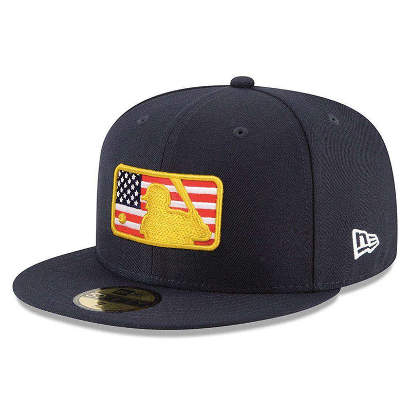2018 4th of July Stars & Stripes MLB Logo New Era AC On-Field 59FIFTY Fitted Hat - Navy