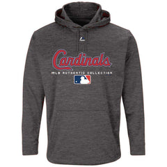 St Louis Cardinals Majestic MLB Authentic Team Drive Hoodie - Granite