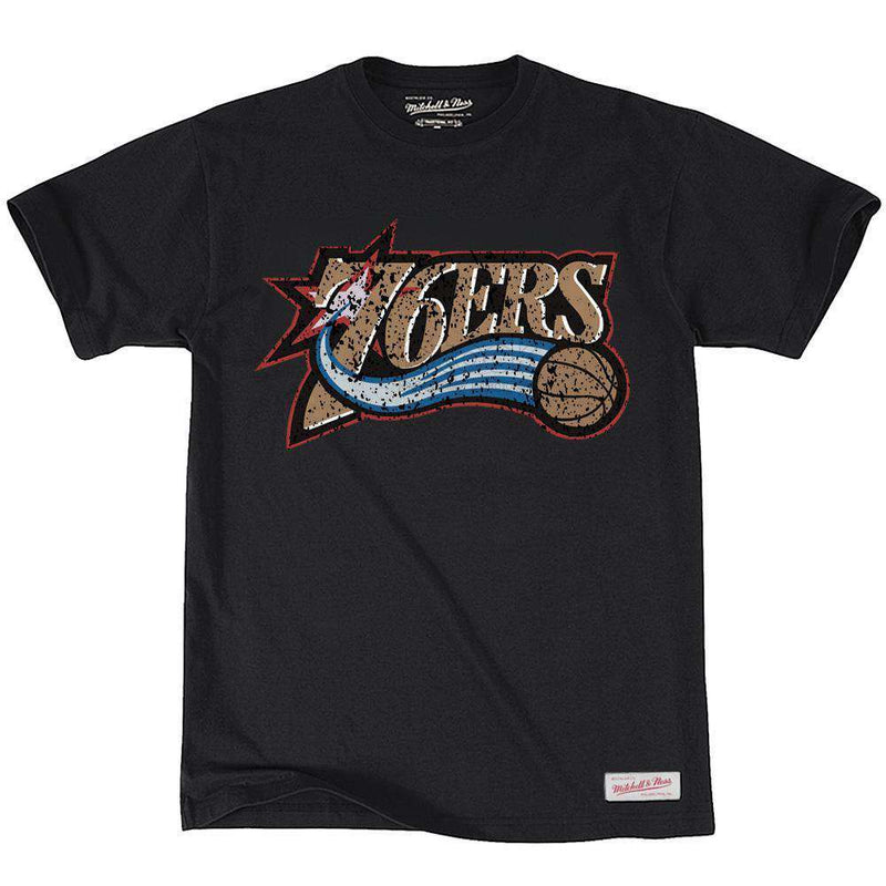 Philadelphia 76ers Mitchell & Ness NBA Distressed HWC T-Shirt - Black