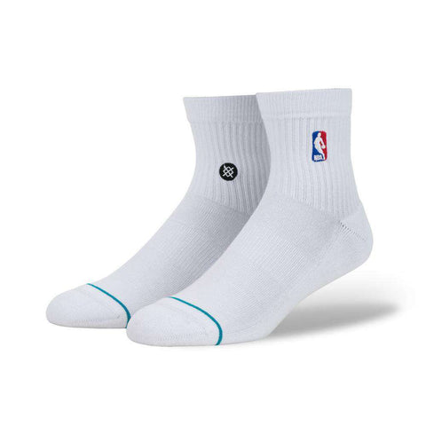 Stance NBA Logoman Casual Quarter Socks - White