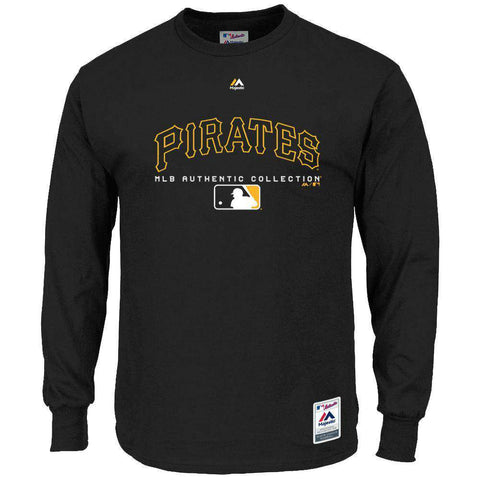 Pittsburgh Pirates Majestic MLB Team Drive Long Sleeve T-Shirt -Black