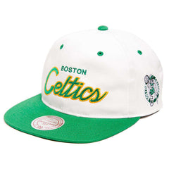 Boston Celtics Mitchell & Ness NBA Retro Script Snapback Hat - White