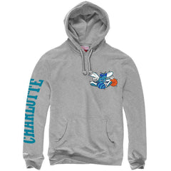 Charlotte Hornets Mitchell & Ness NBA Wordmark Hoodie Jumper - Grey
