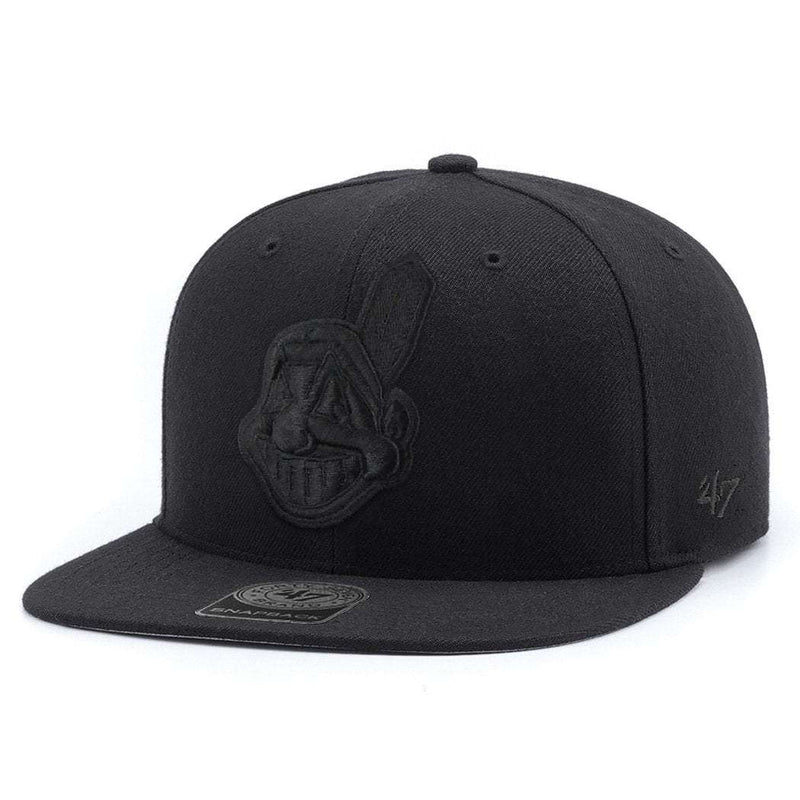 Cleveland Indians '47 MLB Black On Black Captain Snapback Hat