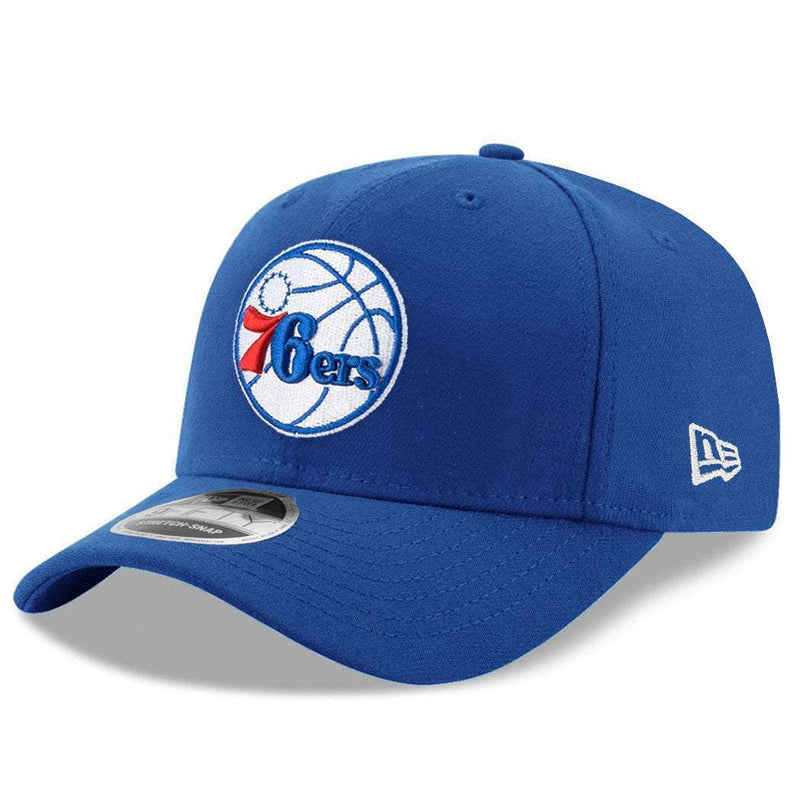 Philadelphia 76ers New Era NBA Team Stretch-Snap 9FIFTY Curved Snapback Hat - Blue