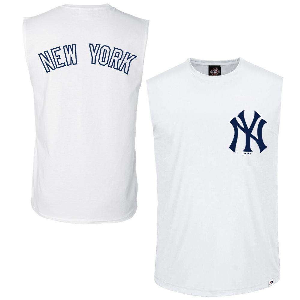 New York Yankees Majestic MLB Englewood Sleeveless Muscle T-Shirt - White 0ae75b84e54