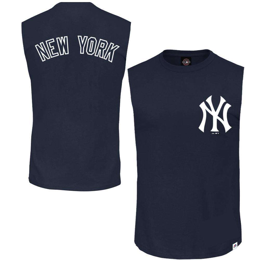 New York Yankees Majestic MLB Englewood Sleeveless Muscle T-Shirt - Navy c31570ae8cc