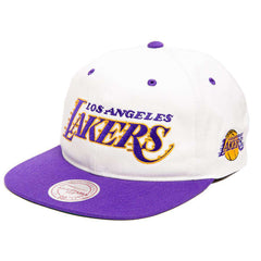 Los Angeles Lakers Mitchell & Ness NBA Retro Script Snapback Hat - White