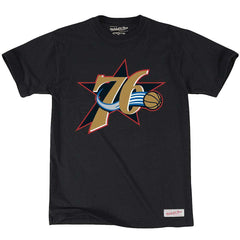 Philadelphia 76ers Mitchell & Ness NBA HWC Logo T-Shirt - Black